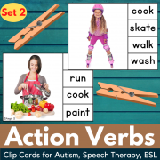 Action Verbs Clip Cards for Speech Therapy Set 2