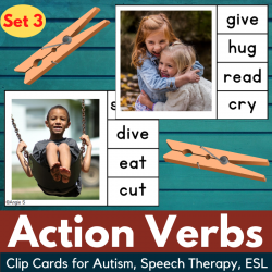 Action Verbs Clip Cards for Speech Therapy Set 3