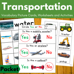 Transportation Worksheets and Activities with Real Pictures