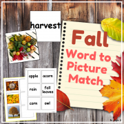 Fall Word to Picture Matching Activity