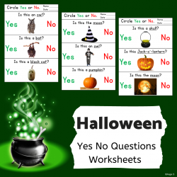 Halloween Yes No Questions Print and Go Worksheets