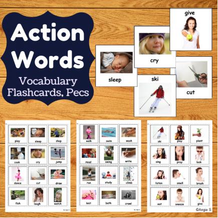 Action Words Autism Communication Cards