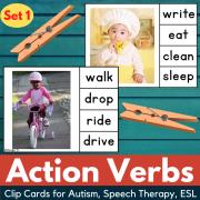 Action Verbs Clip Cards Set 1