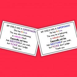 Autism Handout Cards - Autism / ASD - Daughter / Son